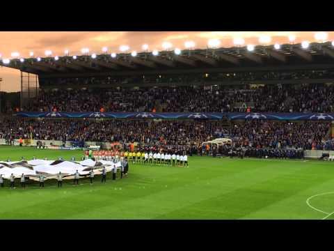 Opkomst spelers Champions league wedstrijd Club Brugge -Manchester United
