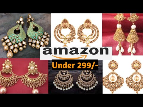amazon-earring-fancy-haul-review,latest-amazon-jhumak,chandwali,gold-plated-jewellery-under@299-haul