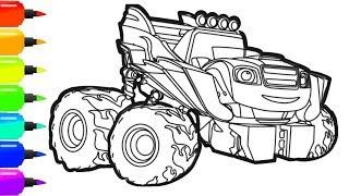 Вспыш и чудо машинки Состязание раскраска Роботы Трансформеры | Blaze and the monster mashines