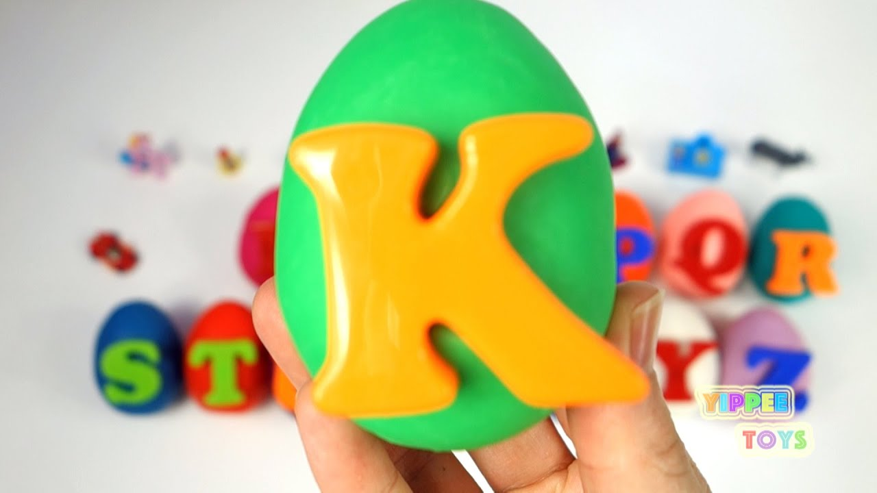 Learn ABC Play Doh Surprise Eggs for Children Toddlers ABC from A