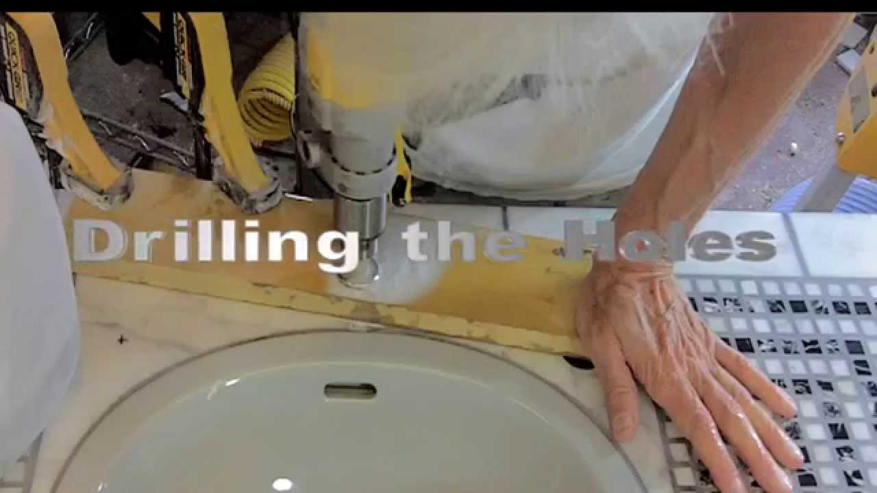 Drilling faucet holes in tile mosaic vanity project youtube drilling faucet holes in tile mosaic vanity project dailygadgetfo Image collections