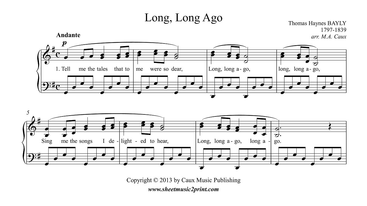 7 Years Piano Pdf long, long ago - piano sheet music