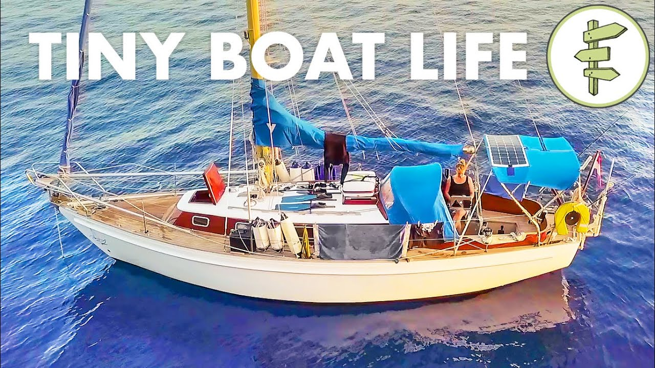 Living on a TINY 28ft Salvaged Sailboat for 2 Years + BOAT TOUR