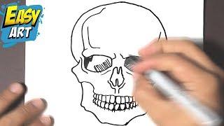 how to draw a skull halloween - how to draw a skull - como dibujar una calavera