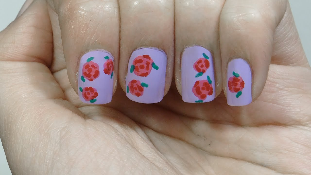 Uñas con rosas o roses nails diseño de primavera de flores - YouTube