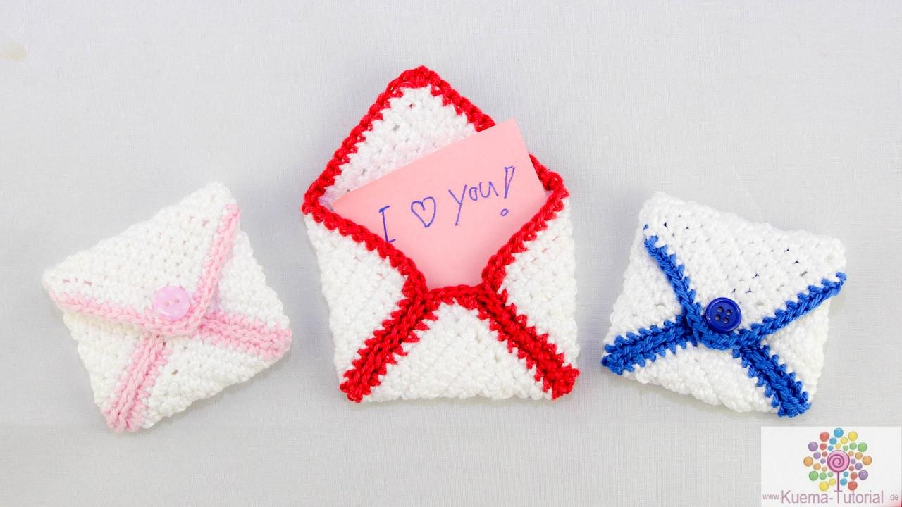Diy Briefumschalg Häkeln Valentinstag Geburtstag Geschenk