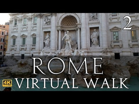 Rome Virtual Walk in 4K Part 2: Spanish Steps to Trevi Fountain