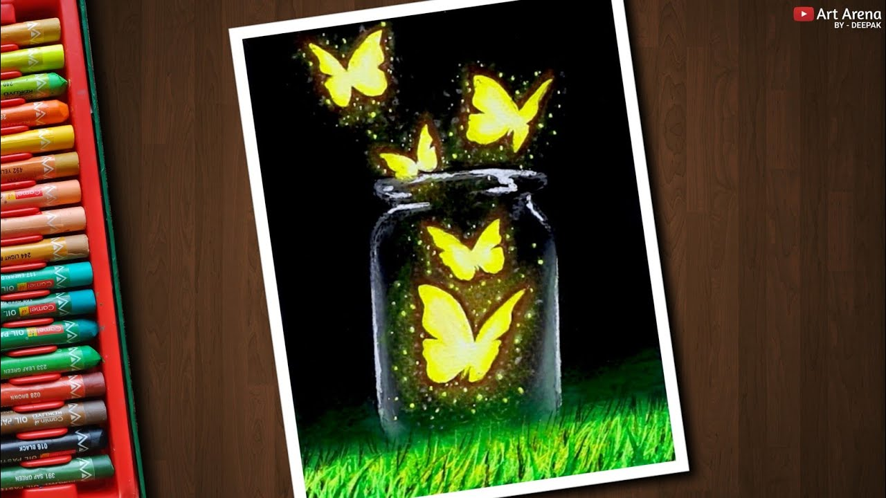 Magical Glowing Butterfly Scenery / Drawing with Oil Pastels / Step by Step [No Clickbait]