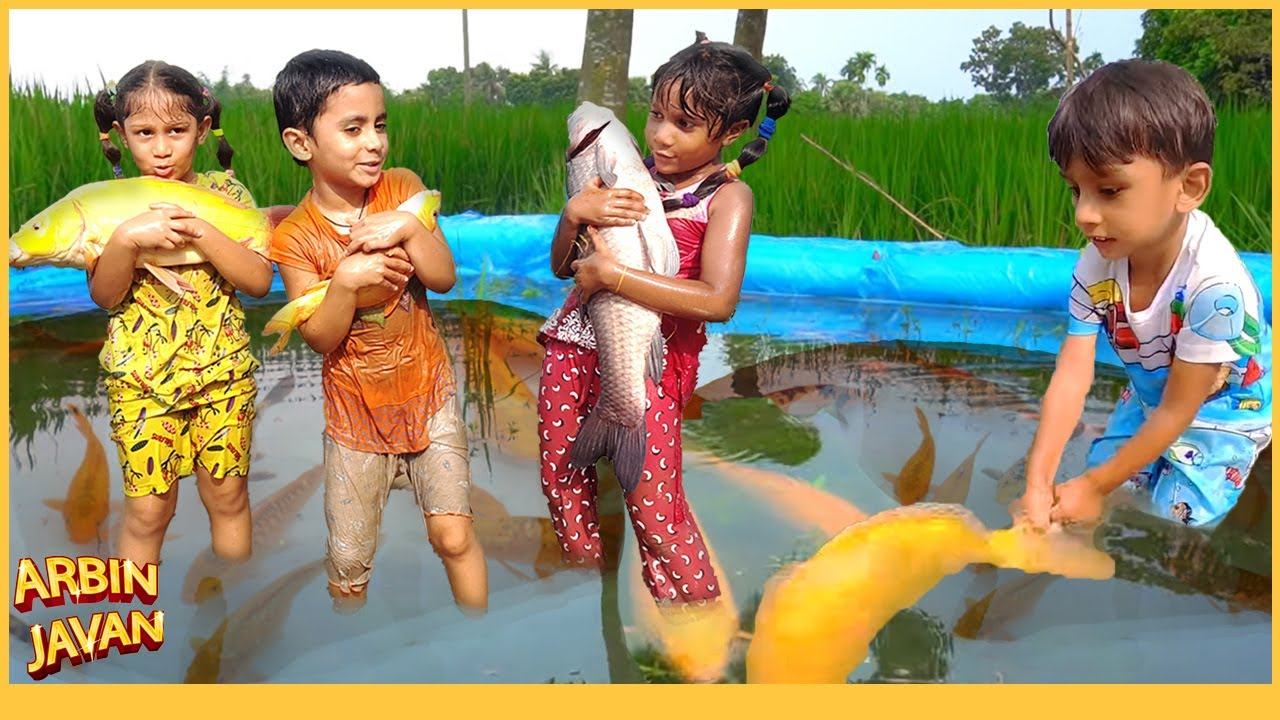 Sneyha Majriti Fun Playing With Real Live Fish - Cute Kids Playing in Swimming Pool with Nature