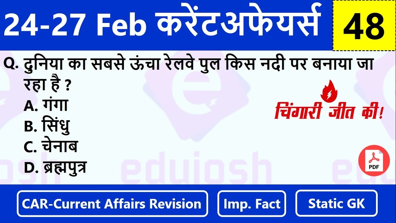 24-27 February Current Affairs   Current Affairs 2021   Daily Current Affairs in Hindi  🔥चिंगारी #48