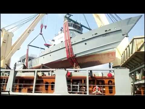 Load Offshore Patrol Vessel on Heavy Lifter Vessel.
