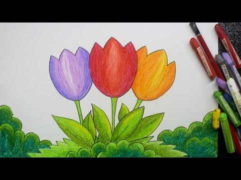 cara menggambar dengan gradasi tema bunga - YouTube
