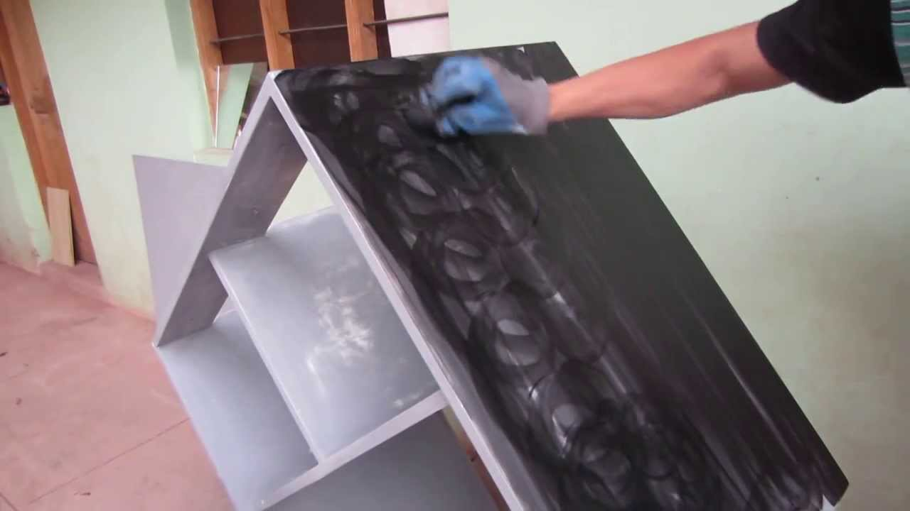 Painting cabinet color black chipboard easy step by step - Como pintar muebles de madera ...