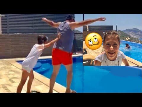 Babama ŞAKA Yaptım, Havuza Attım Babam Çok Kızdı !! Push To The Pool Pranks! Eğlenceli Çocuk Videosu