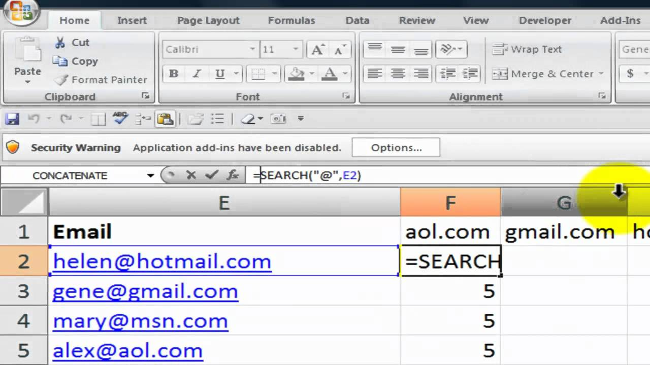 How to Search for Text Strings in Excel