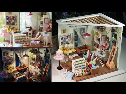DIY Dollhouse kit Miniature Sewing Room - Lisa's Tailor