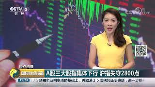 [国际财经报道]热点扫描 A股三大股指集体下行 沪指失守2800点| CCTV财经