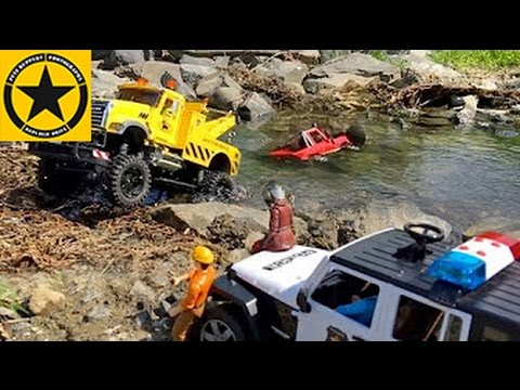 BRUDER Toy Trucks MACK Monster TOW TRUCK RC River Rescue (LONG PLAY)!