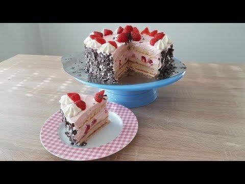 ERDBEER-PUDDING-TORTE/Frühlingstorte/STRAWBERRY PUDDING CAKE / Spring Cake