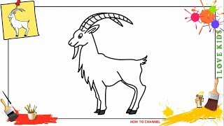 How to draw a goat EASY & SLOWLY step by step for kids and beginners