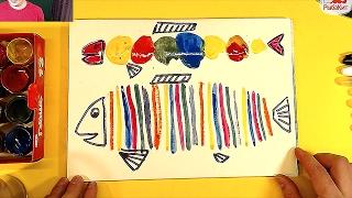 Цветная РЫБА урок рисования для детей от 2 лет
