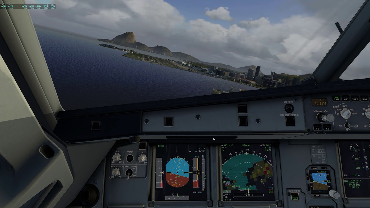 Xplane 11: Flight Factor A320 RNAV20L A Santos Dumont DBRJ: aerodynamic  breaking [1440p] by CMBelite-FR