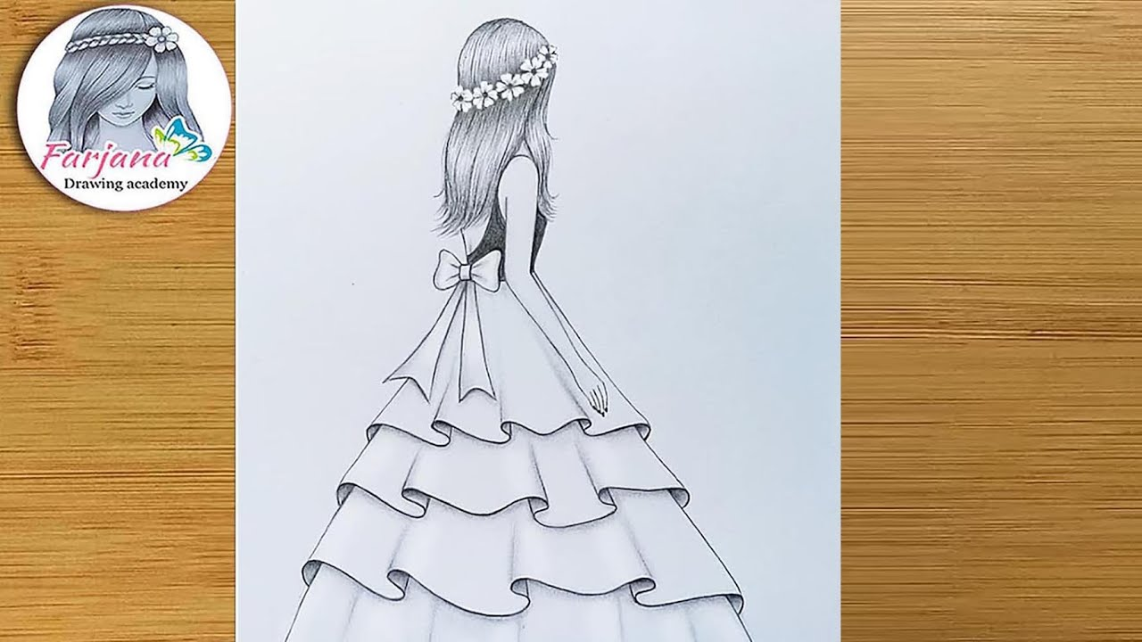 Easy Back Side Drawing Of A Girl How To Draw A Girl With Beautiful Dress Pencil Sketch Youtube