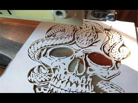 Skull with snake - Scroll saw project