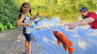Sally went Fishing!! catching my First fish ever adventure Family fun