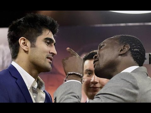 Vijender Singh beating  Francis Cheka -WBO Asia Pacific Super Middleweight Title