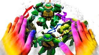 Rainbow Magic Hands Teenage Mutant Ninja Turtles TMNT Kinetic Sand Magic Video With Mad Mattr Learn