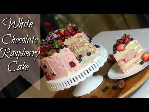 WHITE CHOCOLATE RASPBERRY CAKE RECIPE || Janie's Sweets
