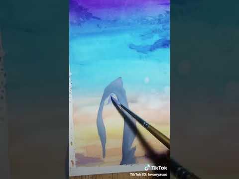 Tik tok video| Cách vẽ tranh = màu nước siêu đẹp[]•••