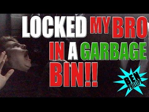 Locked my bro in a garbage bin! PRANK!