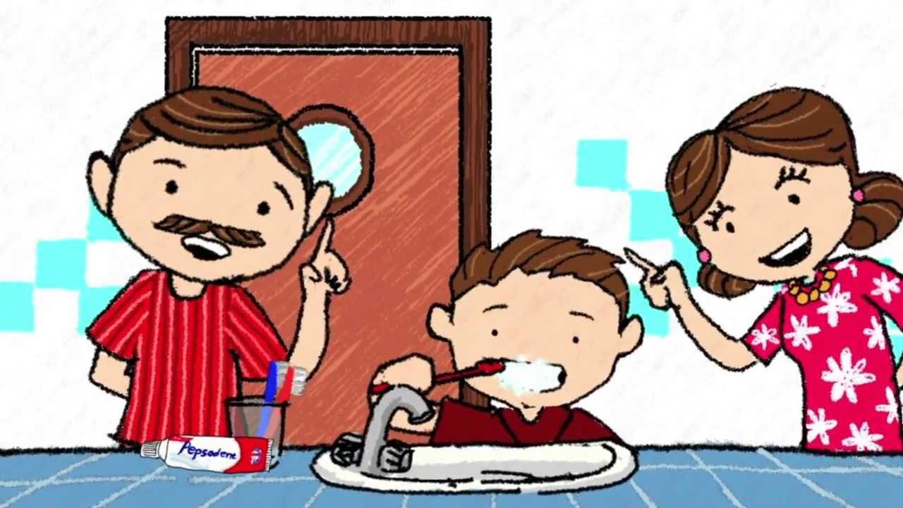 Kumpulan Gambar Kartun Anak Sedang Gosok Gigi