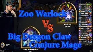Big Dragon Claw Conjure Mage vs Zoo Warlock | Hearthstone