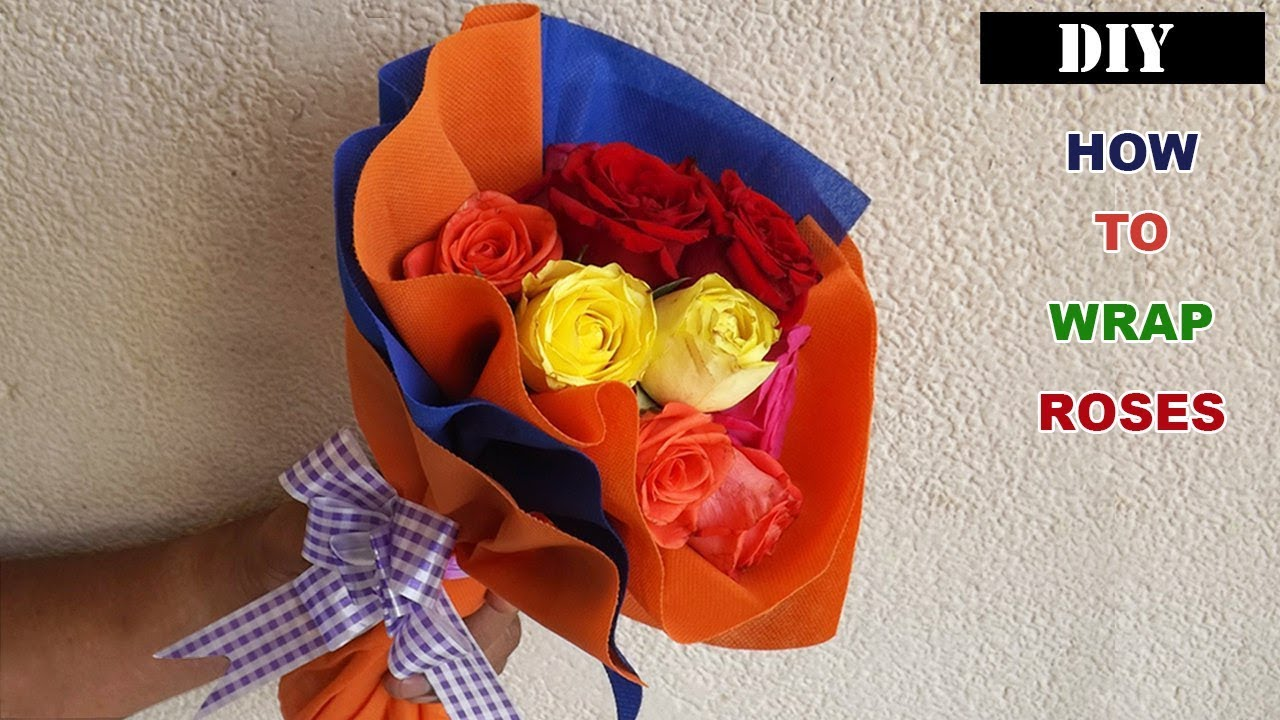Flower Bouquet Wrapping Easy Quick Tutorial With Roses Youtube