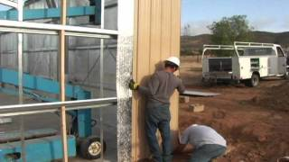 Outback Steel Buildings: 19 - Install Wall Sheeting And Insulation