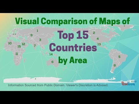 Visual Comparison of Maps of Top 15 Countries by Area