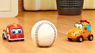 Машинки Мокас играют в мяч Новые мультики про МАШИНКИ для детей