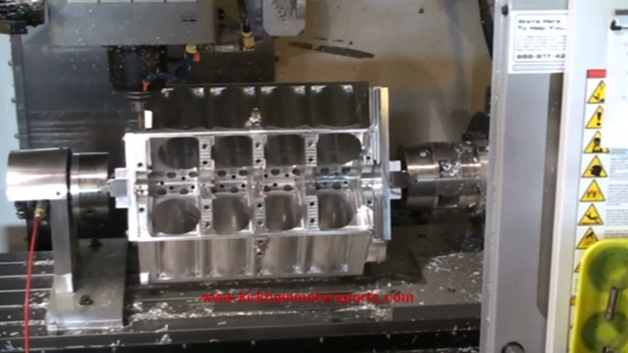 Watch a chunk of aluminum CNC'd into an engine block
