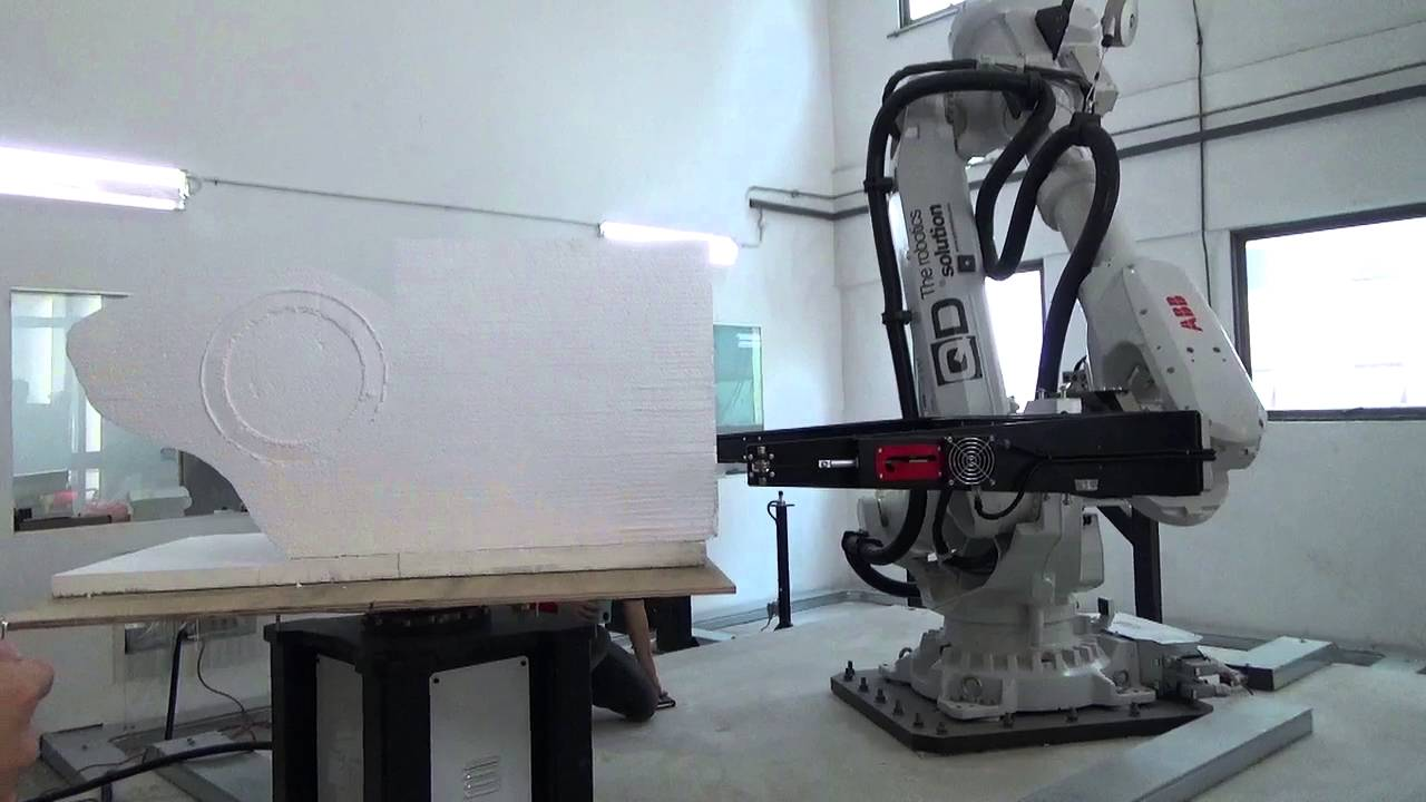 Robotic hot wire cutting polystyrene - 3 - YouTube
