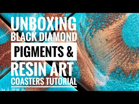 Black Diamond Pigments & Resin Art Coasters