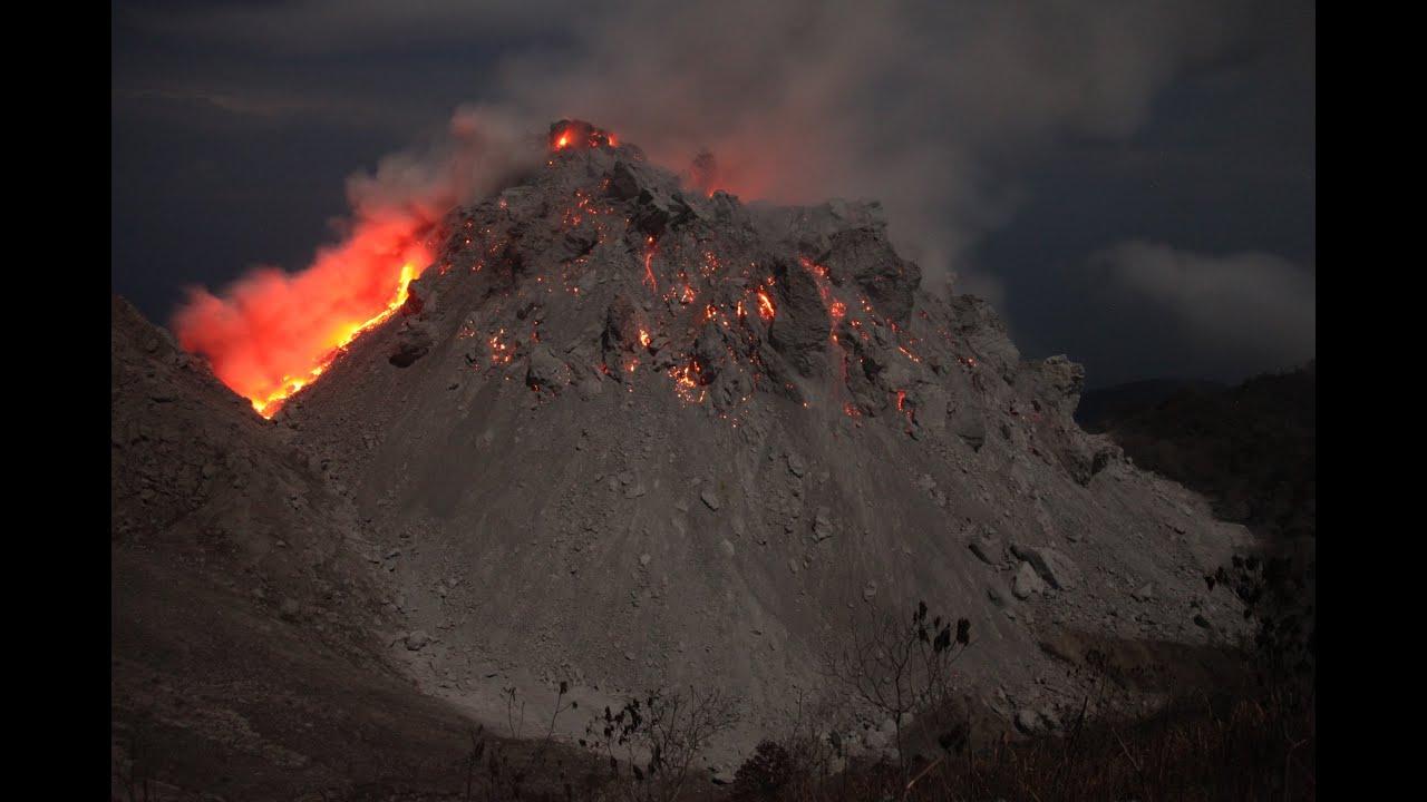 Paluweh  Rokatenda  Volcanoes Lava Dome Erupting At Night  Timelapse Animation