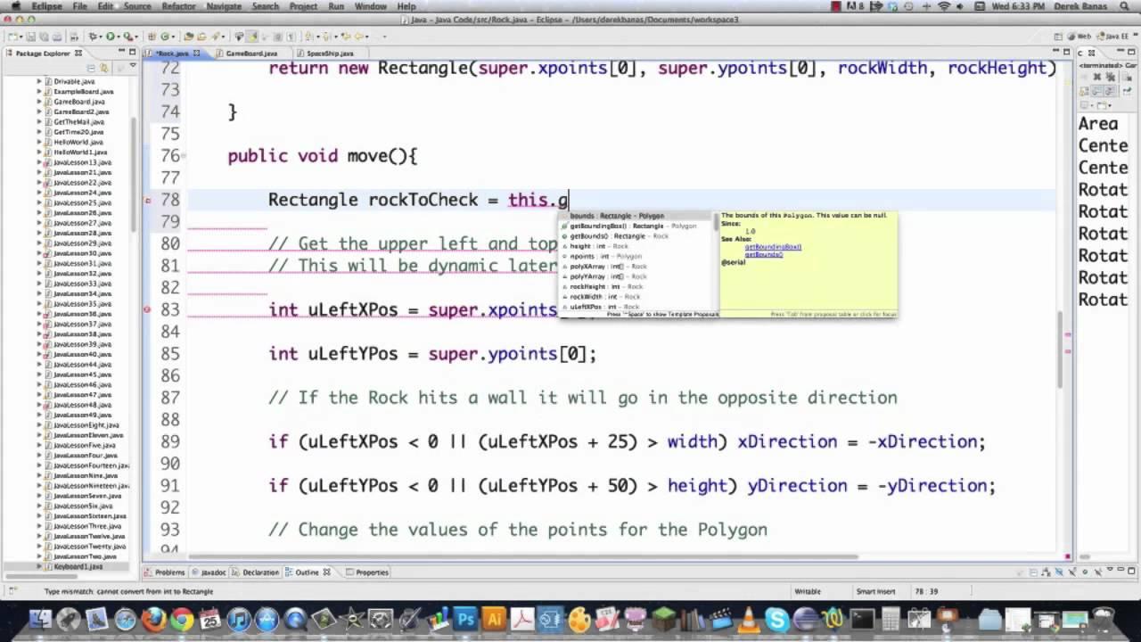 Java Video Tutorial 54 Java Polygon Collision Detection - YouTube