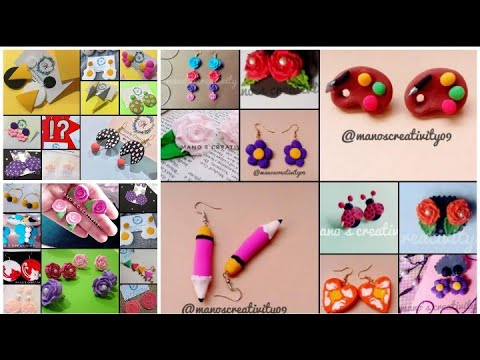 30 design ideas of polymer clay earrings |  Easy and cute Jewellery ideas | Mano's creativity