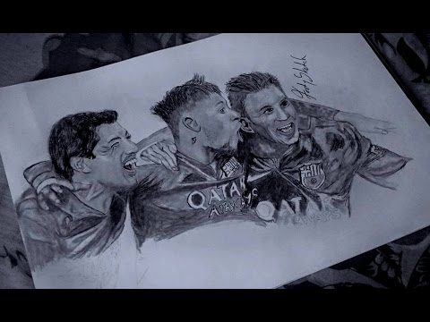 messi suarez and neymar pencil sketch msn barcelona