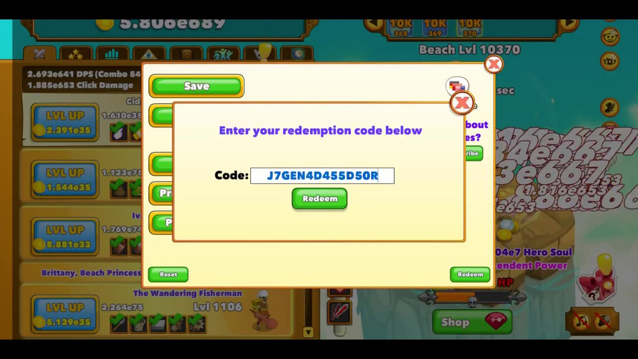 Clicker Heroes 50 ruby code 4 free!!