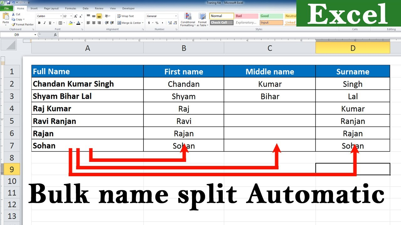 Split Full Name to First name Middle name and Last Name in Excel Bulk name  split in excel formula