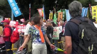 反対デモの国会議事堂前で 安保賛成 懲りずに再トライ